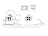A carved pumpkin with a frowning face is the patient in a happy-faced pump… - New Yorker Cartoon Giclee Print by Karen Sneider