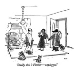 """Daddy, this is Fletcher—unplugged."" - New Yorker Cartoon Premium Giclee Print by George Booth"