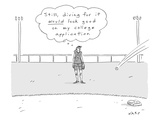 "A girl in a baseball field thinks to herself, ""Still, diving for it would … - New Yorker Cartoon Premium Giclee Print by Kim Warp"