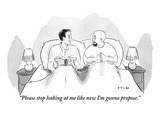"""Please stop looking at me like now I'm gonna propose."" - New Yorker Cartoon Premium Giclee Print by Emily Flake"