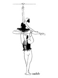A male ballet dancer lifts a ballerina up over his head, so that she can s… - New Yorker Cartoon Premium Giclee Print by Liam Walsh