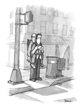 A man carries his grandfather and child in a baby backpack. - New Yorker Cartoon Premium Giclee Print by Jason Patterson