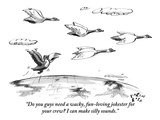 """Do you guys need a wacky, fun-loving jokester for your crew I can make s…"" - New Yorker Cartoon Regular Giclee Print by Farley Katz"