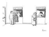 "Next to a regular coat check is a station called the ""wallet check"" where … - New Yorker Cartoon Premium Giclee Print by Zachary Kanin"