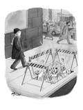 A man walks by an opening for hell along a city street. - New Yorker Cartoon Premium Giclee Print by Harry Bliss