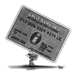 "Man in suit carrying the ""Uncle Sam Card"" on hid back. - New Yorker Cartoon Premium Giclee Print by Kenneth Mahood"