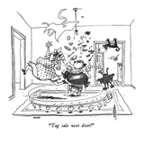 """Tag sale next door!"" - New Yorker Cartoon Premium Giclee Print by George Booth"