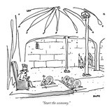 """Start the economy."" - New Yorker Cartoon Premium Giclee Print by George Booth"