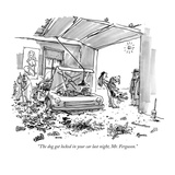 """""""The dog got locked in your car last night, Mr. Ferguson."""" - New Yorker Cartoon Giclee Print by George Booth"""