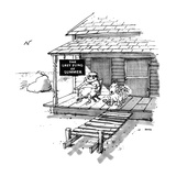 Old man and dog sitting sedately on porch with beach in distance.  A sign … - New Yorker Cartoon Premium Giclee Print by George Booth