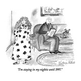 """I'm staying in my nightie until 1997."" - New Yorker Cartoon Premium Giclee Print by Victoria Roberts"