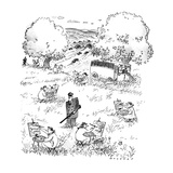 Prisoners in a field painting with guard in the center of them. Bus in the… - New Yorker Cartoon Premium Giclee Print by Bill Woodman