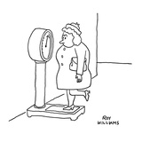 Woman on scale lifting one leg to weigh less. - New Yorker Cartoon Premium Giclee Print by Roy Williams