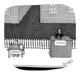 Judge sits at a large stand labeled 'Justice,' next to boy at a small  'Le… - New Yorker Cartoon Reproduction giclée Premium par J.C. Duffy