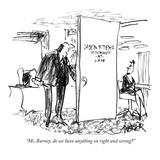 """Ms. Burney, do we have anything on right and wrong"" - New Yorker Cartoon Premium Giclee Print by Robert Weber"