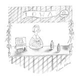 "Woman selling ""Iowa"" perfume. - New Yorker Cartoon Premium Giclee Print by Victoria Roberts"