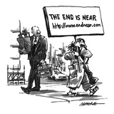 Man carries a picket sign that reads 'The End is Near http://www.endnear.com.' - New Yorker Cartoon Premium Giclee Print by Robb Armstrong