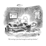 """His snoring is just loud enough to mask my tinnitus."" - New Yorker Cartoon Premium Giclee Print by Frank Cotham"