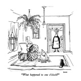 """""""What happened to one o'clock"""" - New Yorker Cartoon Giclee Print by George Booth"""