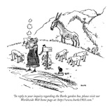 """In reply to your inquiry regarding the Burke garden hoe, please visit our…"" - New Yorker Cartoon Premium Giclee Print by George Booth"