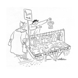Street peddler with cart of children's clothes; sign on cart reads 'Pour L… - New Yorker Cartoon Premium Giclee Print by Unknown Alain