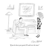 """If you let down your guard, I'll walk over the moat."" - New Yorker Cartoon Premium Giclee Print by Victoria Roberts"