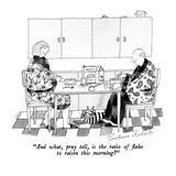 """And what, pray tell, is the ratio of flake to raisin this morning"" - New Yorker Cartoon Premium Giclee Print by Victoria Roberts"