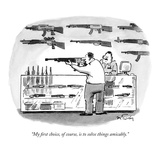 """""""My first choice, of course, is to solve things amicably."""" - New Yorker Cartoon Premium Giclee Print by Mike Twohy"""