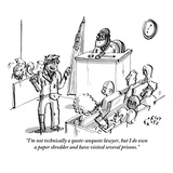 """I'm not technically a quote-unquote lawyer, but I do own a paper shredder…"" - New Yorker Cartoon Regular Giclee Print by Farley Katz"
