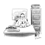 Man sitting at Personnel desk next to a file cabinet with separate draws t… - New Yorker Cartoon Premium Giclee Print by Mike Twohy