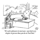 """It's such a pleasure to meet you--you look even sleepier in person than y…"" - New Yorker Cartoon Premium Giclee Print by Farley Katz"