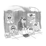 Man selling paintings of animals and people with large sad eyes, he also h… - New Yorker Cartoon Premium Giclee Print by Gahan Wilson