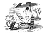 "A business man on the beach with a ""Born to Raise Interest Rates"" tattoo. - New Yorker Cartoon Premium Giclee Print by Mike Twohy"