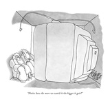"""Notice how the more we watch it the bigger it gets"" - New Yorker Cartoon Premium Giclee Print by Gahan Wilson"