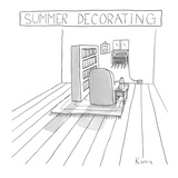 All the furniture in a room is moved around the air conditioner. - New Yorker Cartoon Premium Giclee Print by Zachary Kanin