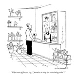 """What sort of flowers say, 'I promise to obey the restraining order'"" - New Yorker Cartoon Premium Giclee Print by Nick Downes"