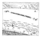 Palindromic sky-writer planes at the beach. - New Yorker Cartoon Giclee Print by John O'brien