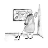 "Woman looking at ATM which says ""Your Financial Institution No Longer Exists"". - New Yorker Cartoon Premium Giclee Print by Victoria Roberts"