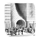 Business people coming out of Cornucopia between two buildings. - New Yorker Cartoon Premium Giclee Print by Joseph Farris