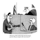 """And now a little number that asks the musical question 'Do you recognize …"" - New Yorker Cartoon Reproduction giclée Premium par J.C. Duffy"