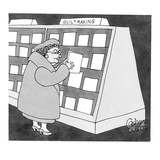 Woman browsing greeting card section labeled, 'Guilt Making.' - New Yorker Cartoon Premium Giclee Print by Gahan Wilson