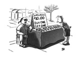 "A customer is looking at a street vendor's sign that reads, ""Sunglasses, $… - New Yorker Cartoon Premium Giclee Print by James E. Kirchman"