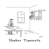 """Shaker timeouts""; in a Shaker's wood shop, a boy sits on a chair hung up …"" - New Yorker Cartoon Premium Giclee Print by Kim Warp"