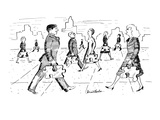 Men and women walk down street with briefcases that are in the shape of ji… - New Yorker Cartoon Premium Giclee Print by Stuart Leeds