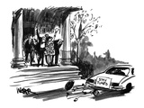 "A just married couple drives off in a car marked ""Stay Tuned"". - New Yorker Cartoon Premium Giclee Print by Robert Weber"