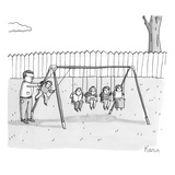 A man is seen swinging a group of kids like a set of Newton's Cradle. - New Yorker Cartoon Premium Giclee Print by Zachary Kanin