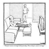 """""""The post-season coverage ended yesterday. This is the pre-season coverage."""" - New Yorker Cartoon Premium Giclee Print by Matthew Diffee"""
