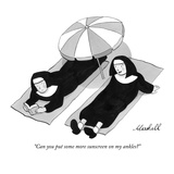 """Can you put some more sunscreen on my ankles"" - New Yorker Cartoon Premium Giclee Print by Marshall Hopkins"