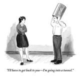 """I'll have to get back to you—I'm going into a tunnel."" - New Yorker Cartoon Premium Giclee Print by Emily Flake"