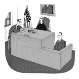 """My witness doesn't understand me."" - New Yorker Cartoon Reproduction giclée Premium par J.C. Duffy"